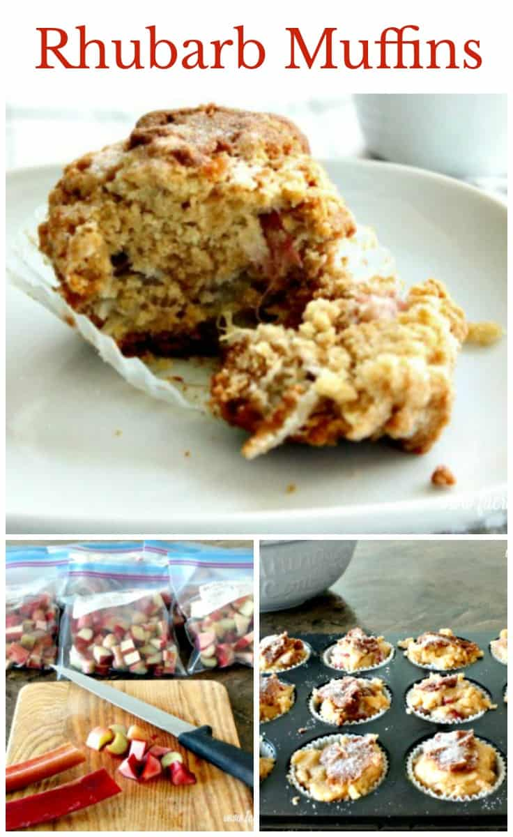 Fresh and moist rhubarb muffin from a homemade rhubarb muffin recipe. Rhubarb Muffin Recipe, easy muffin recipes, crumble topped muffins.