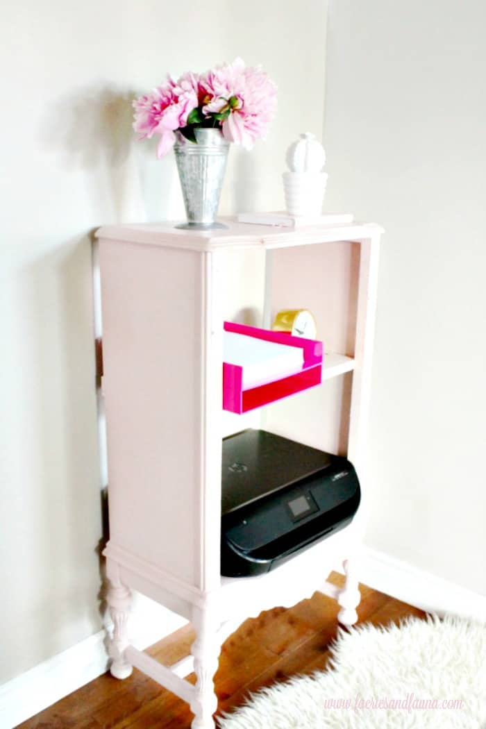 A small antique cabinet that was ruined receives furniture repair and blush pink chalk paint makeover. Shabby Chic Vintage Cabinet,Shabby Chic Upcycled Cabinet, chalk painted furniture ideas.