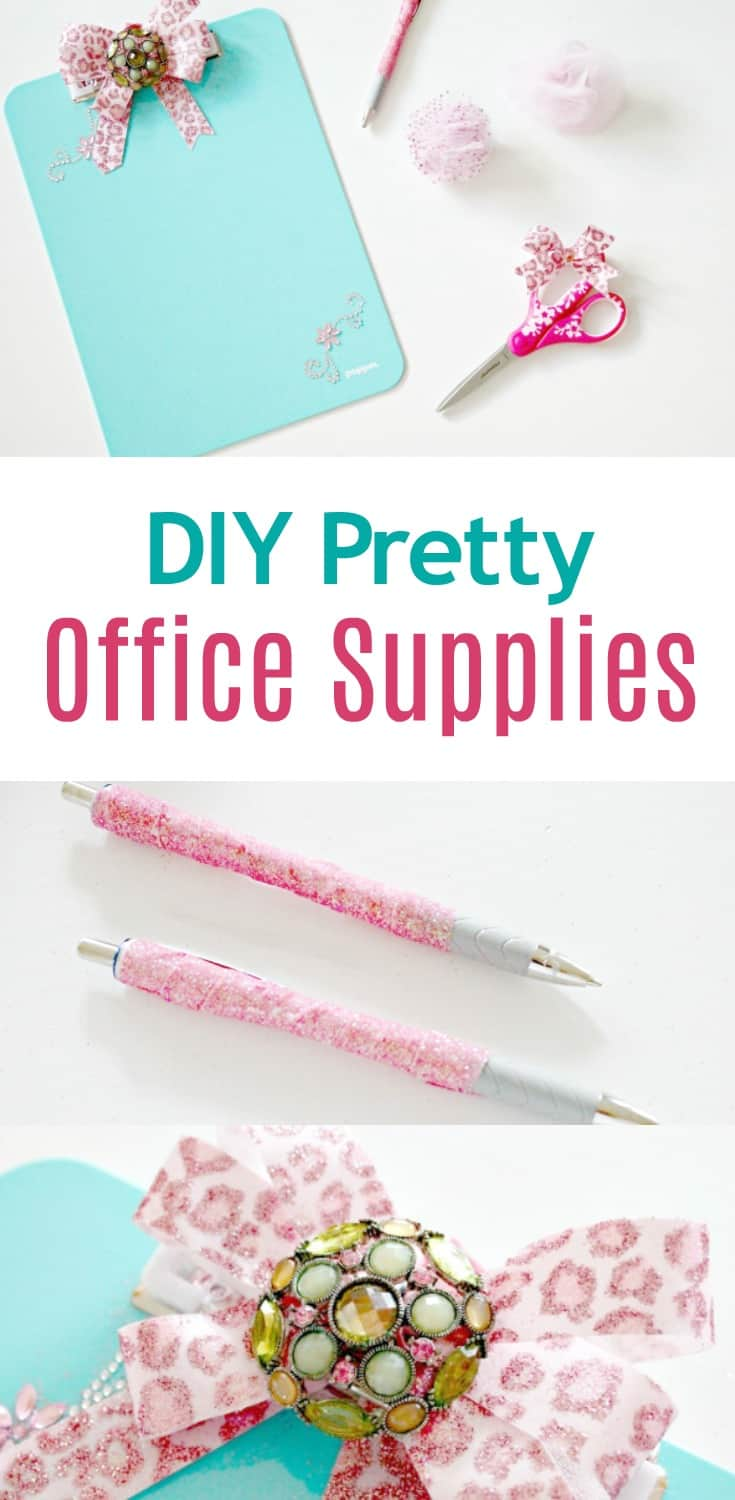 DIY pretty office supplies with sparkles in pink and turquoise for back to school or the home office.