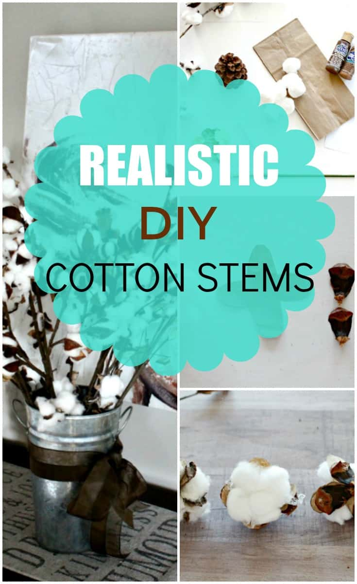 DIY cotton branches tutorial with cotton bolls, stems, and pine cones with branches. DIY cotton branches, cotton pod, DIY cotton stems, DIY cotton balls DIY, art and craft, DIY crafts, cotton branches, cotton craft, cotton ball crafts,