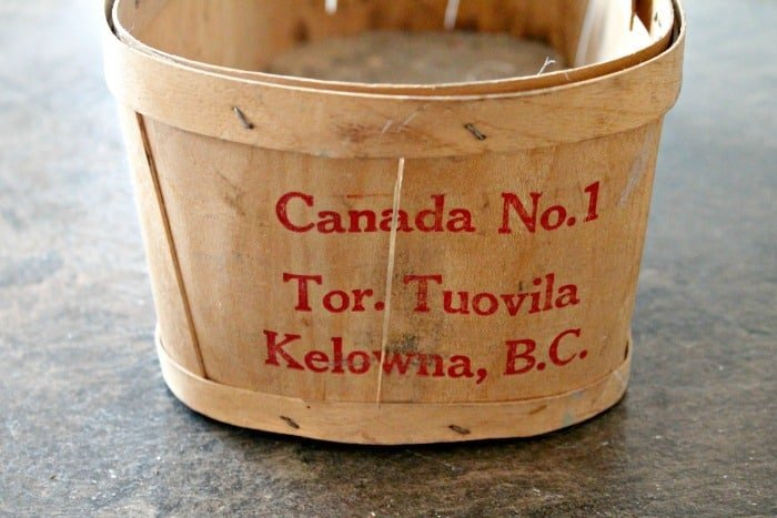 Vintage fall basket made from wood with Kelowna stamp. Fall Basket Makeover, Vintage Baskets, Wood Basket, Farmhouse Basket