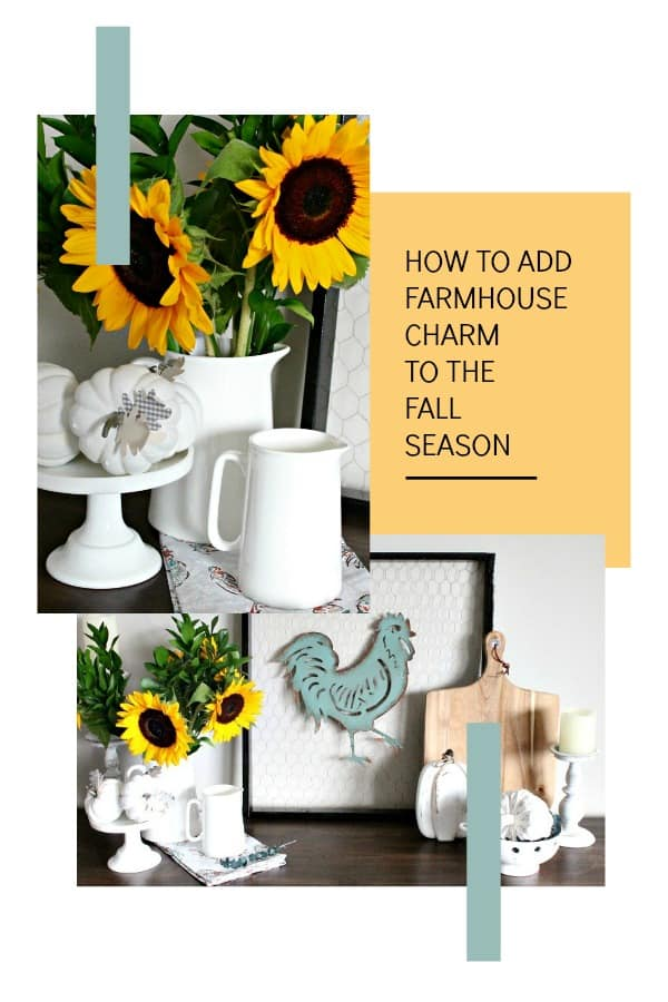 Collage of farmhouse decor including DIY chicken wire frame, ironstone, wood and flowers for farmhouse decor.