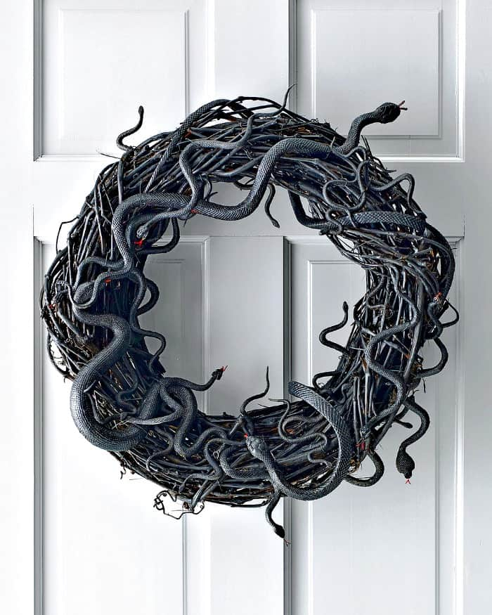 A DY snake wreath for Halloween. DIY Halloween front porch ideas, Halloween porch displays, DIY Halloween yard decorations, DIY Halloween front porch ideas, DIY Halloween front door decorations,