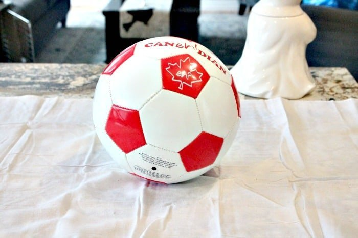 A soccer ball for making a Halloween ghost for the front porch. A cute more than scary outdoor Halloween decoration.