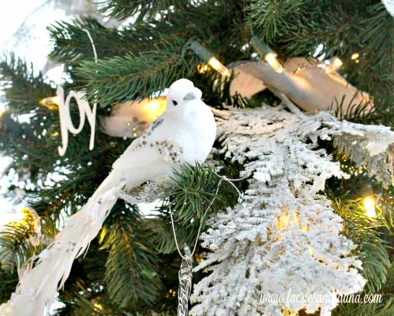 Christmas home tour with a pretty sparkly white bird sitting in the Christmas tree. , Christmas House, Christmas Home, Christmas house tour