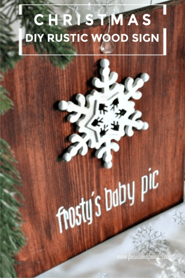 DIY Rustic Wood Sign a frosty baby pic