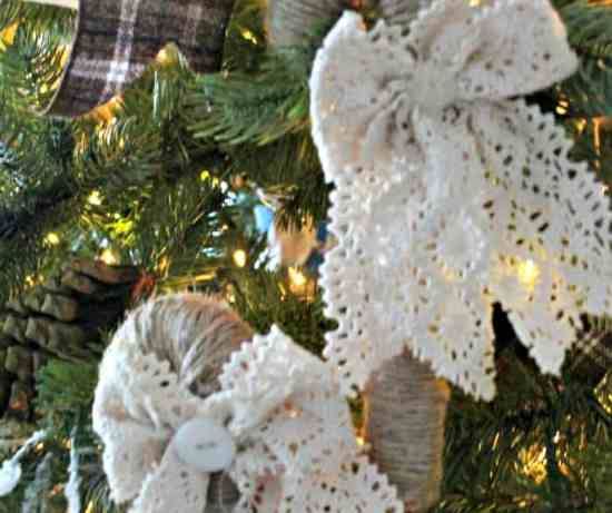 Farmhouse styled twine and lace candy cane Christmas tree ornaments.  diy ornaments, candy cane crafts, easy candy cane, easy Christmas ornament, home made Christmas decorations