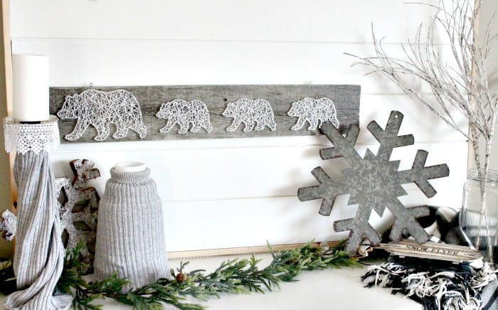 winter farmhouse decor, winter decorating ideas, january decorations, vignette, winter home ideas