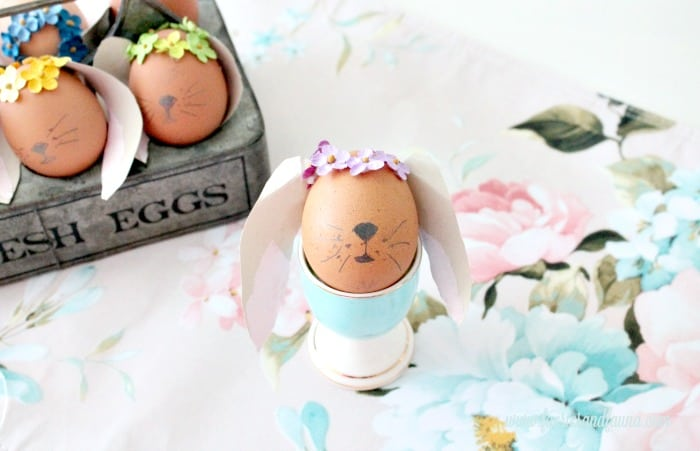 Floppy Eared Easter bunny made with brown egg.Easter Bunny Eggs, DIY Easter Eggs, how to decorate eggs, Easter egg ideas, Easter eggs, Easter egg decorating
