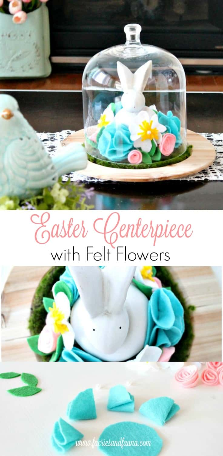 Easter Centerpiece, Easter decorating ideas, felt flowers, Easter decor, DIY Easter decorations, DIY spring decor, Easter bunny crafts