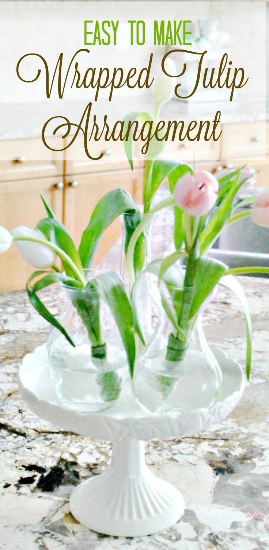 Tulip Arrangement Ideas With Leaf Wrapped Bundles