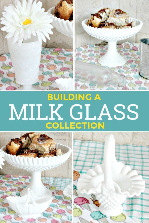 An collage of vintage milk glass collectibles
