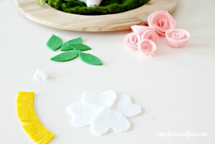 Cut out felt for a flower craft. Easter Centerpiece, Easter decorating ideas, felt flowers, Easter decor, DIY Easter decorations, DIY spring decor, Easter bunny crafts