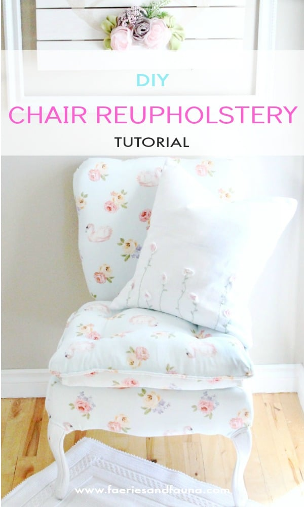 DIY Chair Upholstery project final reveal, with sewing, staining and repairing tips.