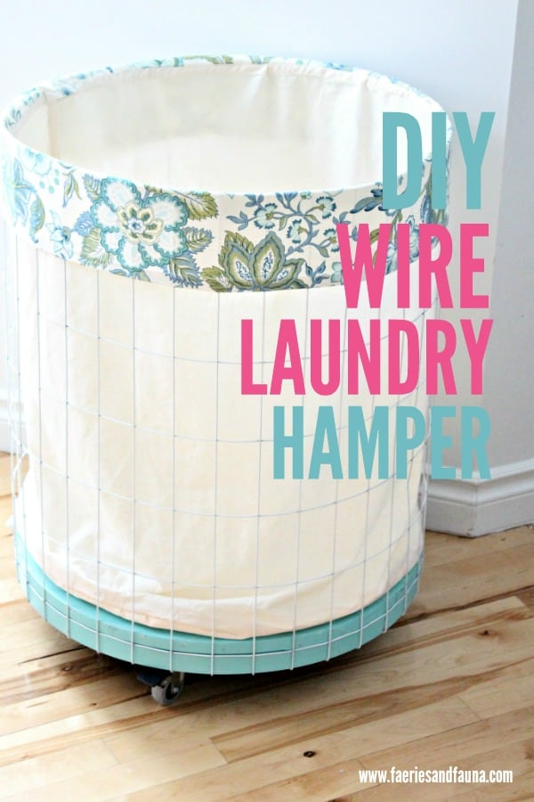 DIY Wire hamper made using a thrift store table and fence wire.