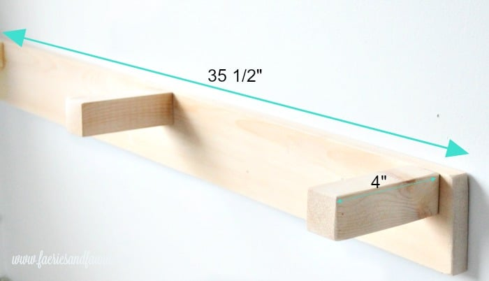 Measurements for the bracket of a DIY shelf