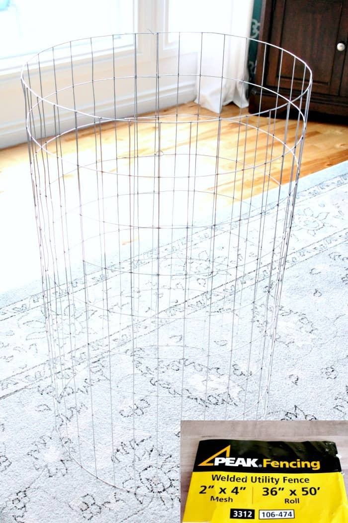 Wire fencing for a home made wire laundry hamper.