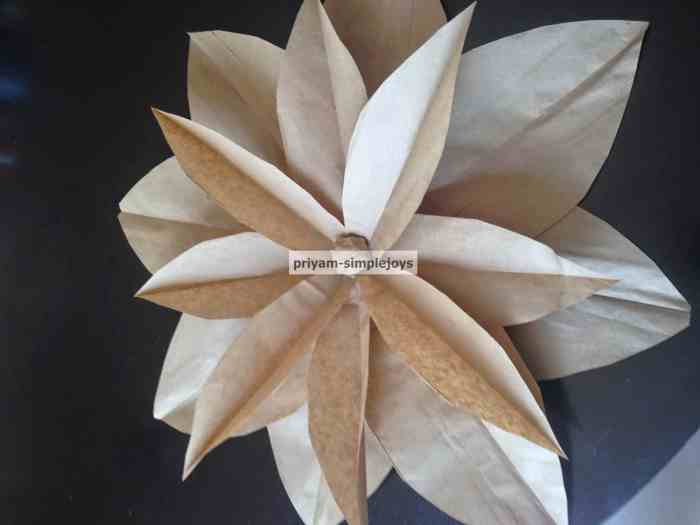 Brown Paper Bag Flower Craft for Waste Not Wedne