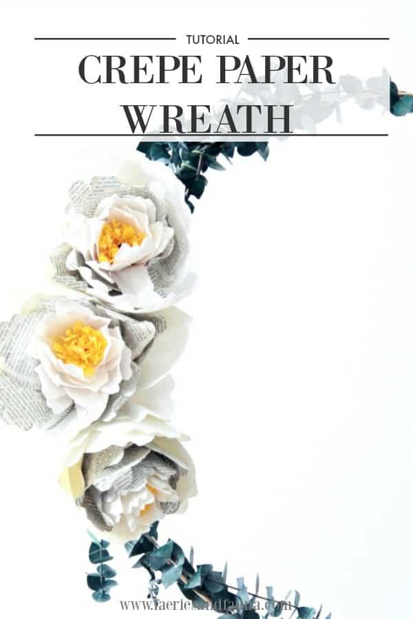Crepe paper peony wreath pin image.