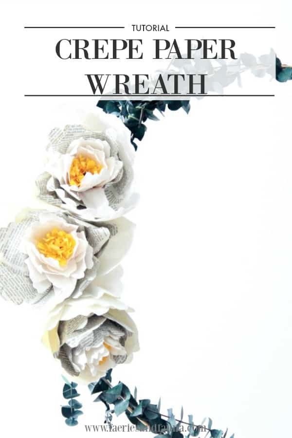 Crepe paper peony wreath pin image.