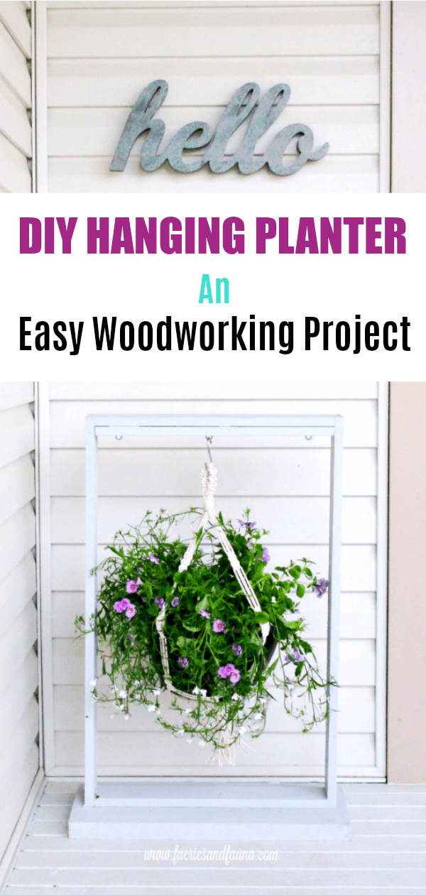 Wood Hanging Planter as an easy wood working project. Adding screws into the box of a DIY Hanging planter. DIY Planters, DIY Pot hangers, DIY Hanging Pots, DIY Hanging flower pot, DIY outdoor hanging planter.