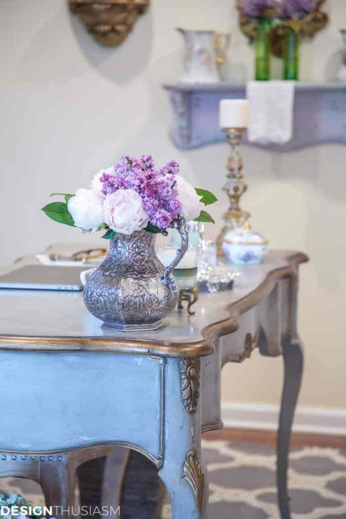 French Country Decor Ideas with a french provincial desk for Waste Not Wednesday.