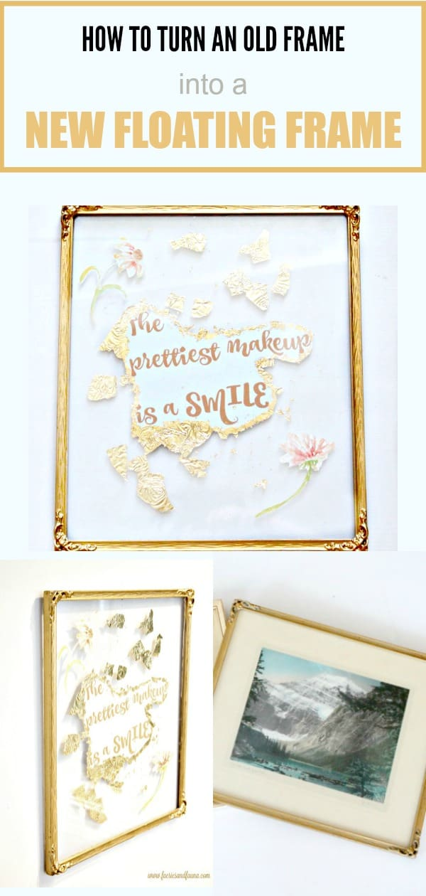 A collage of an old vintage frame being made into a DIY floating frame.