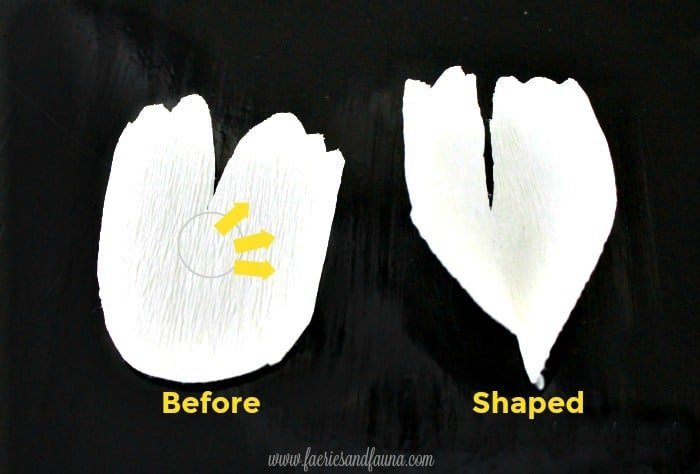 Small crepe paper flower petals being shaped and stretched for a hoop wreath craft project. Flower making, how to make paper flowers, flower making with crepe paper, minimalist wreath, elegant wreath, diy wedding decor, paper flowers wedding, book page crafts.