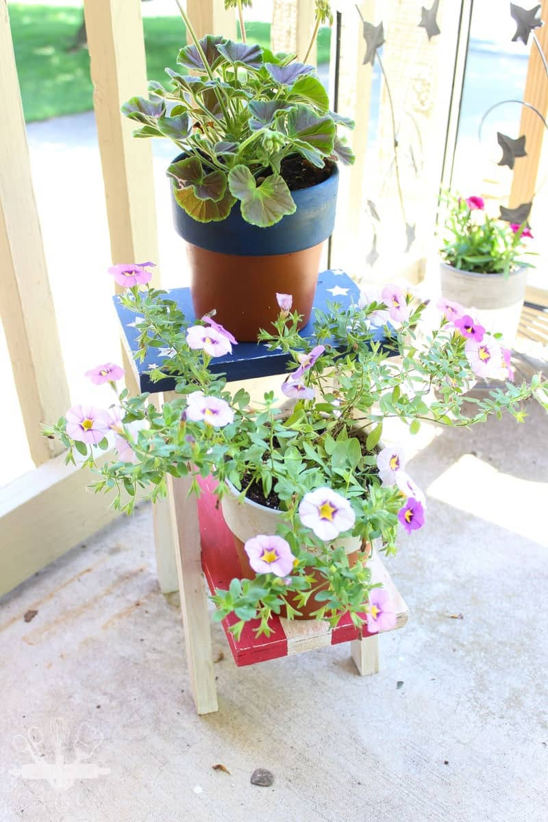 Hand made plant stand decorated with Americana Paints for Waste Not Wednesday