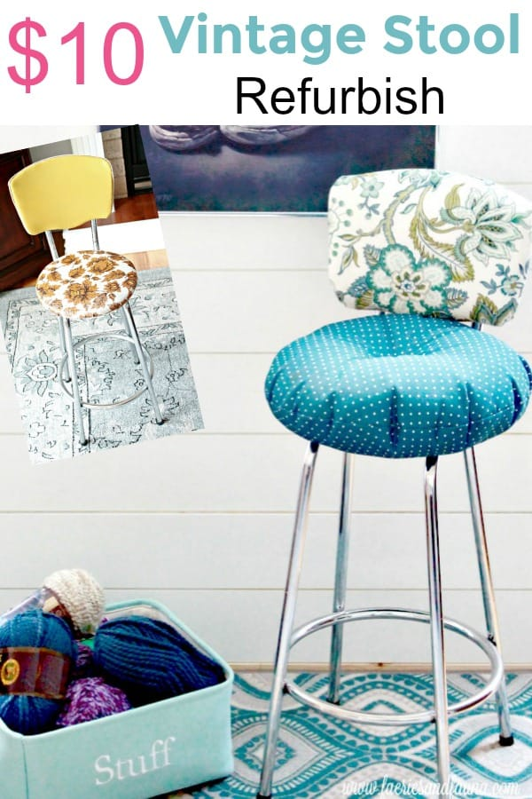 Before and After of a Vintage Stool Makeover