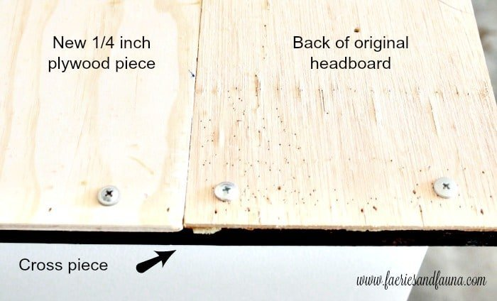 Cross brace for holding two pieces of plywood together on a DIY RV headboard.