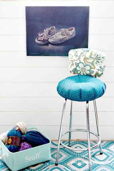 A refinished vintage stool for a craft room. How to fix a vintage stool, repairing a vintage stool, upcycled furniture, furniture for cheap, craft room makeover projects
