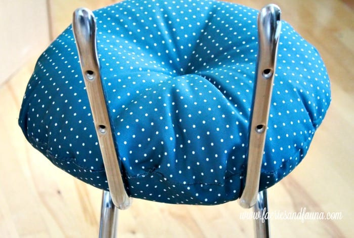 A new seat on a vintage stool makeover project. How to fix a vintage stool, repairing a vintage stool, upcycled furniture, furniture for cheap, craft room makeover projects
