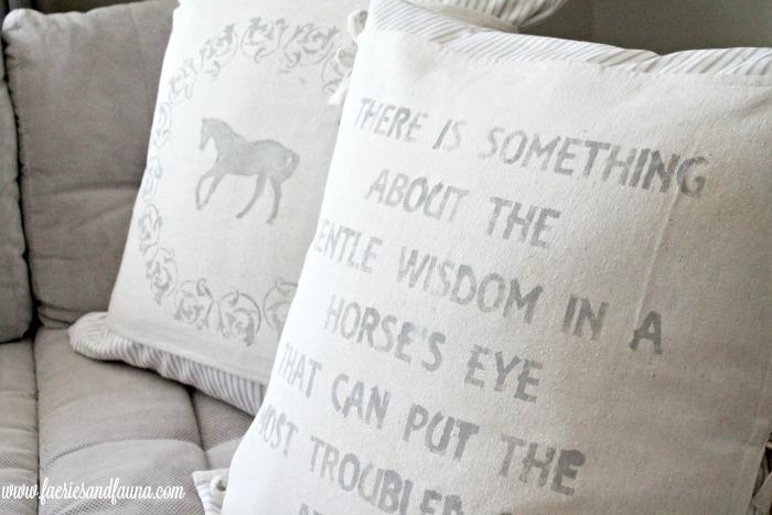 Two farmhouse styled handmade cushions with DIY stenciling pattern. Cushion making, DIY cushion covers, DIY pillow, making pillow covers, cushion cover making, sewing pillow covers, envelope cover, DIY Cushion Covers