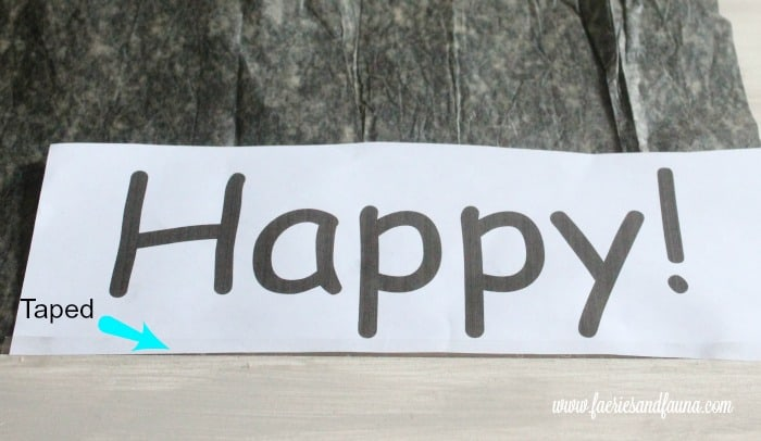 Bee Happy text template on a DIY planter project.