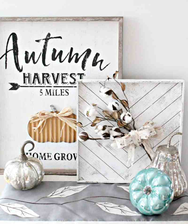 Fall decor with cotton stems and natural birch bark