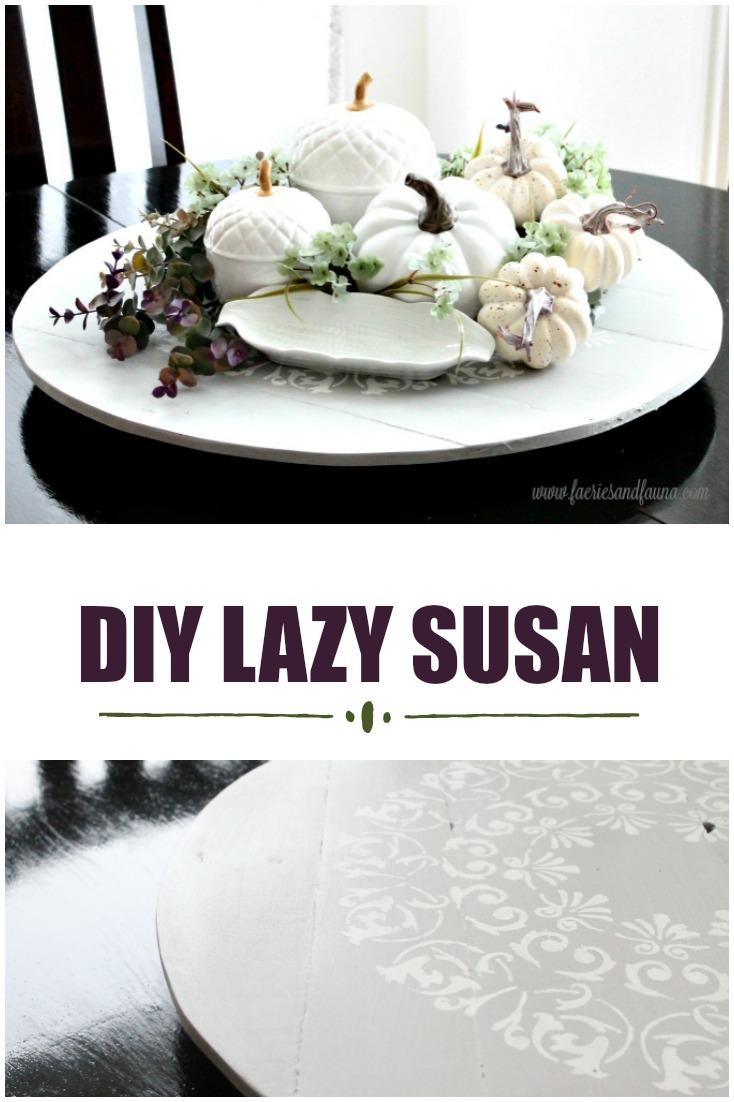 How to make a DIY lazy susan into a fall centerpiece.