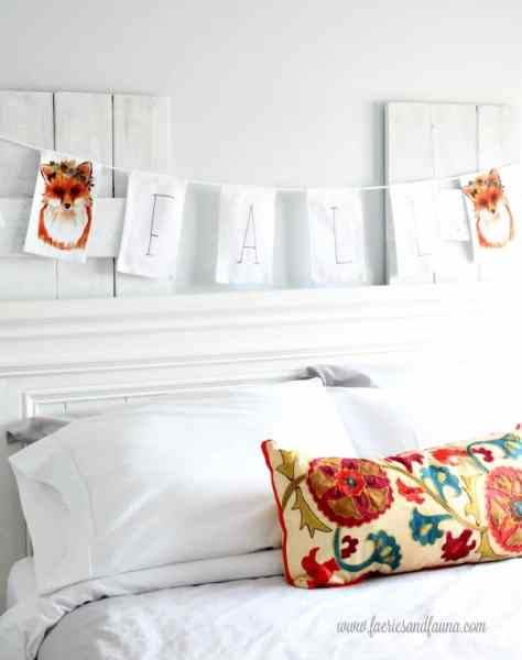 Bedroom with fall banner that is perfect for indoors or for fall front porch.
