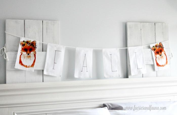 Fall banner perfect for front door decor. Fall decorating idea using tea towels.