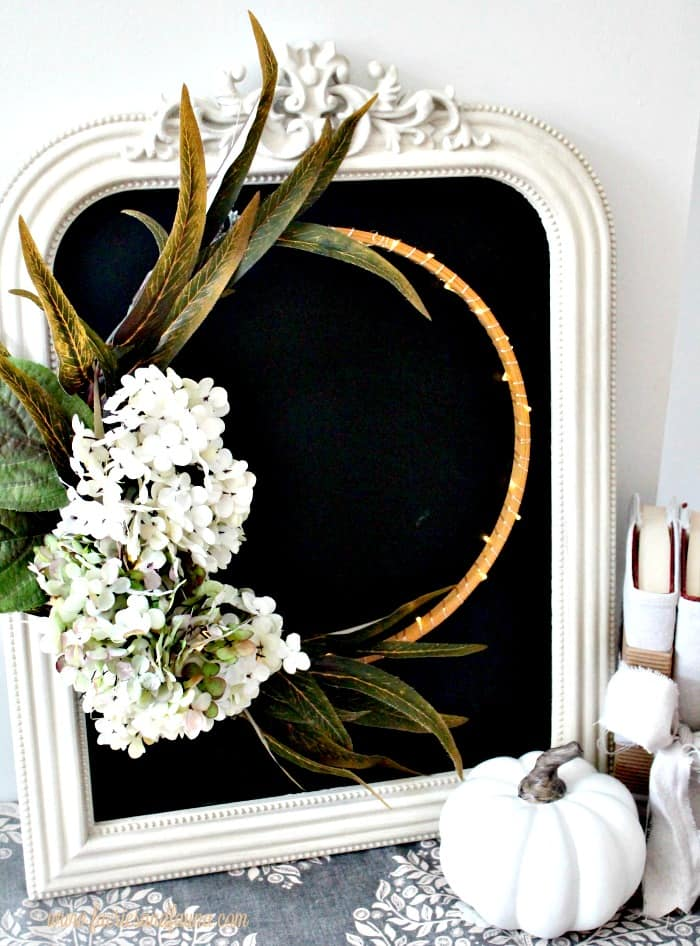 Hydrangea fall wreath, minimalist style with a chalkboard background.
