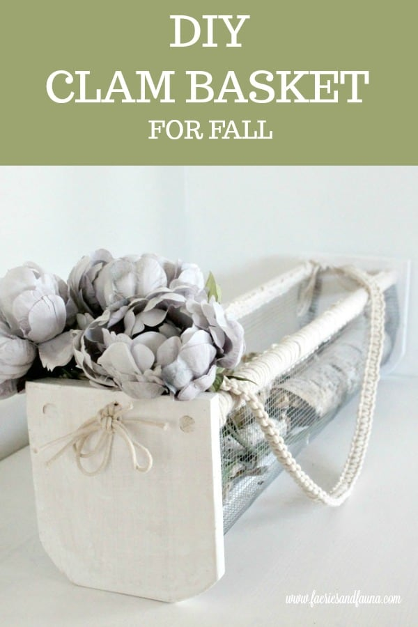 DIY wire basket decorated for fall in neutral colours