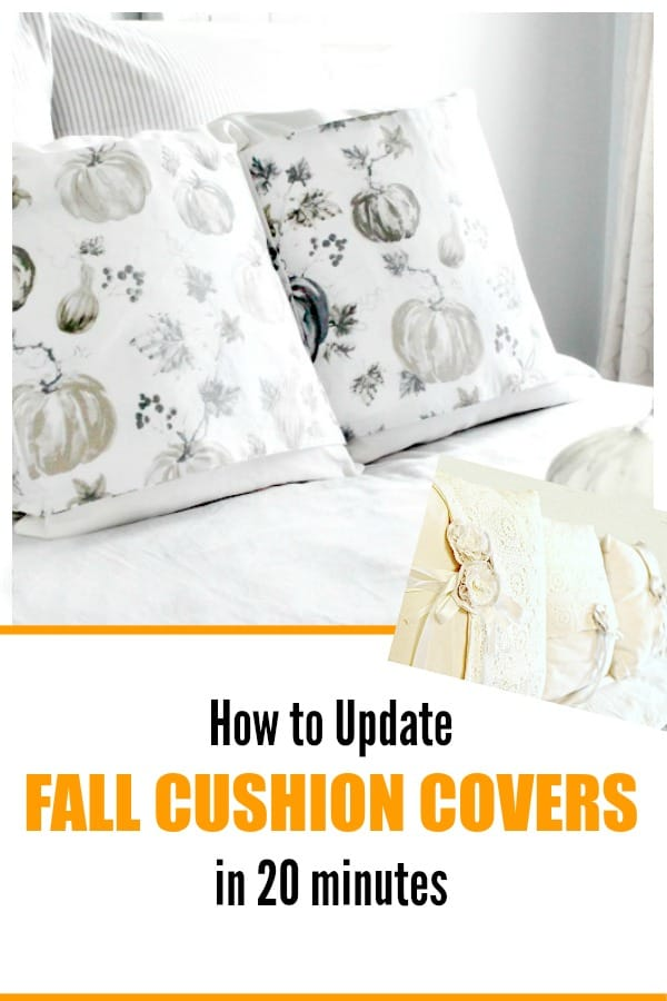 DIY Cushion covers banners for fall decorating.