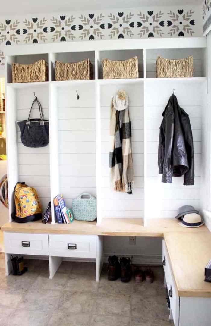 Waste not Wednesday feature Stenciled Wall Mudroom
