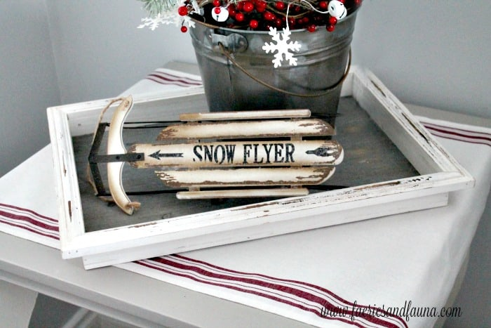 DIY Farmhouse Table Runner in Red and white
