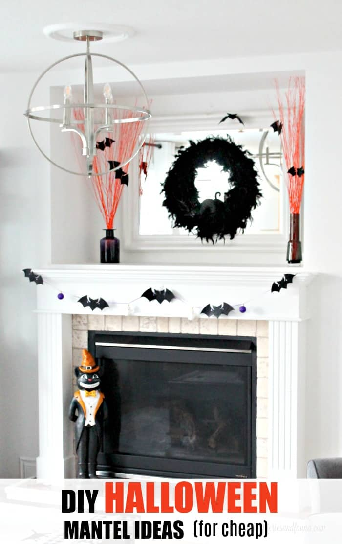 DIY Halloween mantel decorated with elegant and Easy Halloween Crafts.