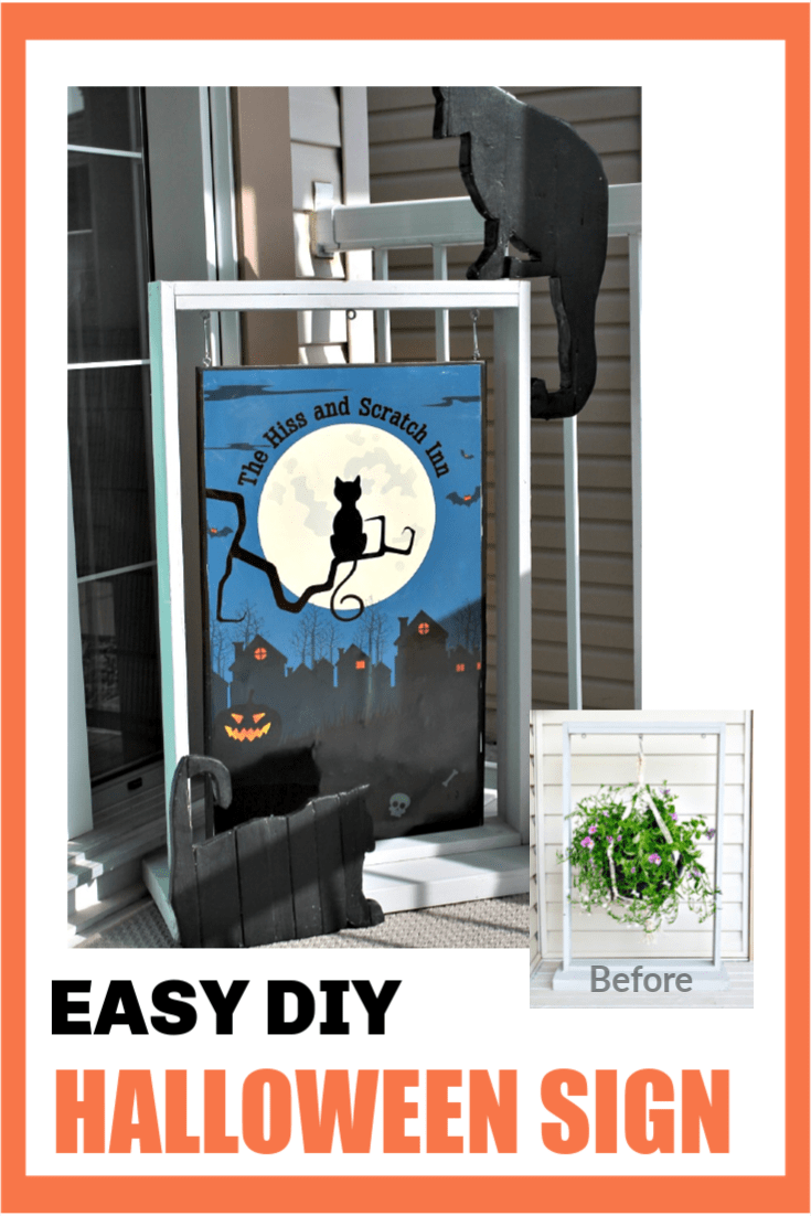 Halloween DIY sign before and after of black cat sign on Halloween front porch.