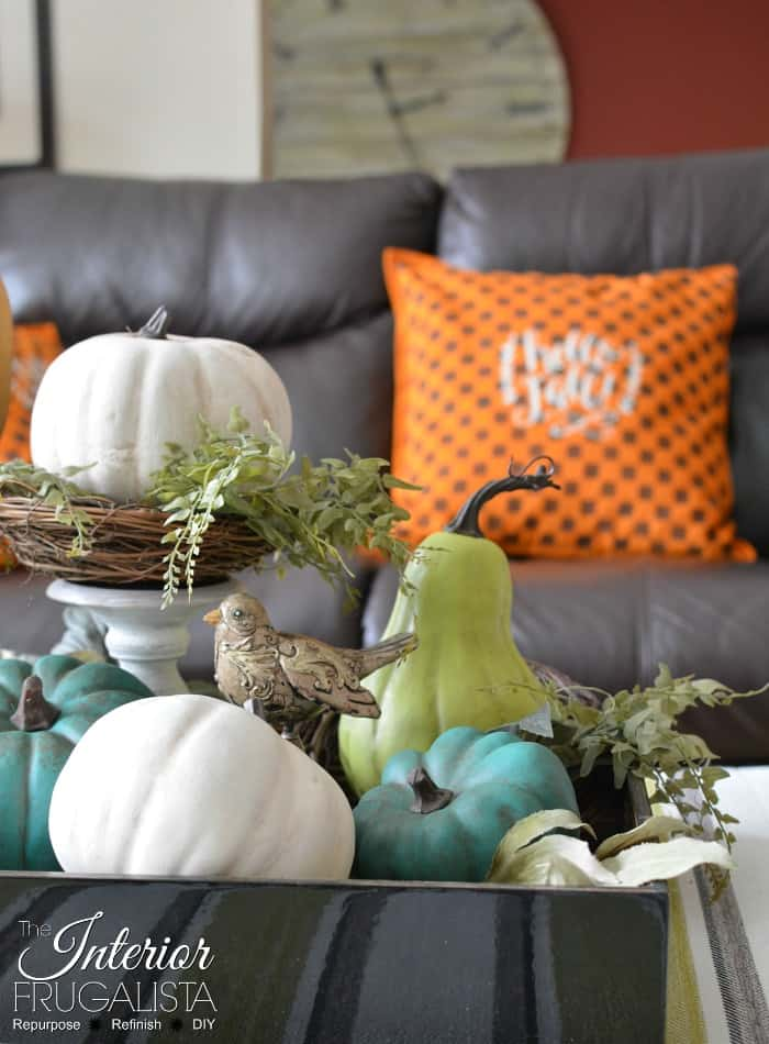 Dollar Store Pumpkins for Fall decor in beautiful greens, whites and blue.