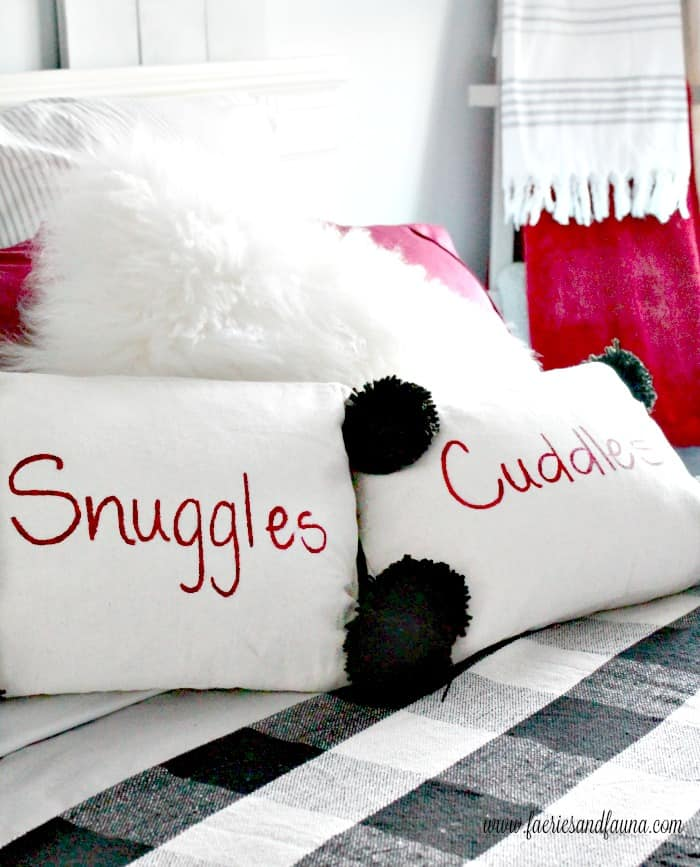 DIY Cushion Covers for Christmas, with lettering and Pom Poms