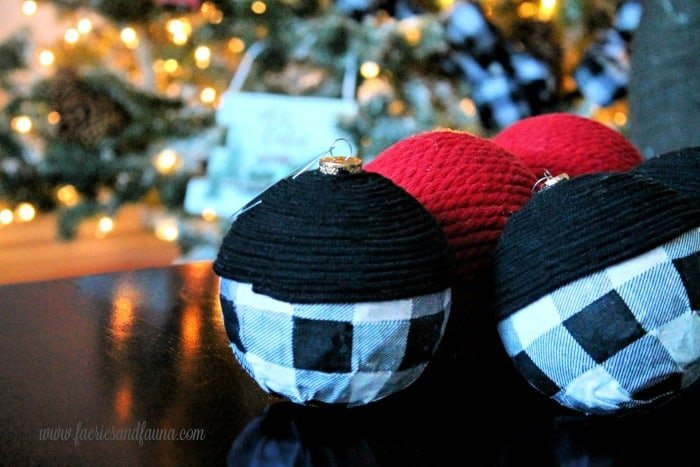 DIY Christmas Ornaments made from fabric and recycled Christmas balls.