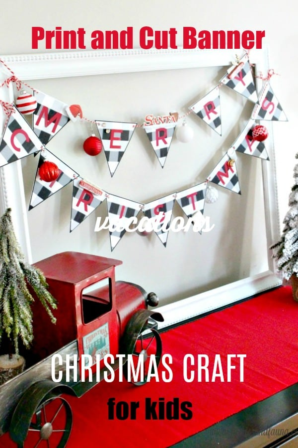 Buffalo Check Banner Christmas Craft for Kids